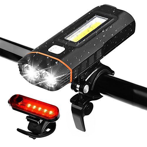 WZTO Lampe vélo, LED Lampe vélo puissante Rechargeable USB Impermeable, 500 Lumens Lumière, Multi Modes d'éclairage Phare Lampe pour Camping,Randonnée, Situations d'urgence