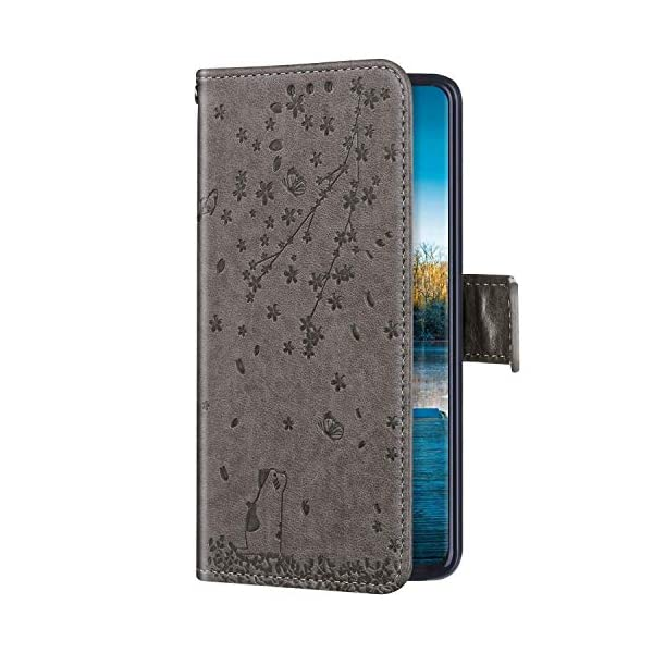 Uposao Compatible with Huawei Honor 20 Case Leather Wallet Cover Cherry Flower Cat Embossed Pattern Shockproof Flip Case with Card Holders Magnetic Closure Stand Lanyard,Gray Uposao Compatible Model: Huawei Honor 20 Package:1 x Wallet Case Cover,1 x Black Stylus Touch Pen Provides optimal protection from everyday bumps, knocks, drops, chips, dirt, scratches and marks without adding bulk to your phone and ensures that your device remains protected, safe and secured at all times. 1