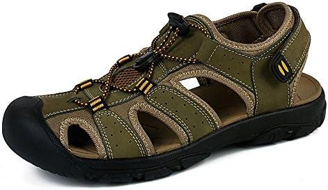 NEOKER Cuero Sandalias Deportivas Para Hombre Outdoor Verano Senderismo Trekking Zapatos Marron Verde 38-48
