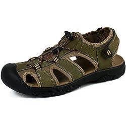 Sandalias Deportivas Verano Los Hombre, Senderismo Cuero Al Aire Libre Pescador Playa Zapatos Impermeables Playa Marrón Verde 38-48 Verde 42