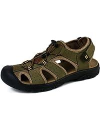 NEOKER Herren Sandalen Sommer Leder Schuhe Strand Flip Flop Outdoor Walking Wandern Trekking Braun Grün 38-48 Braun 40 9ZMFo40A4