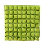 Rose An der Wand befestigte hängende vertikale pflanzende Taschen wachsen Grün-Pflanzer mit 64 Taschen für Hauptwand-Balkon-Garten-Versorgungsmaterial Grün