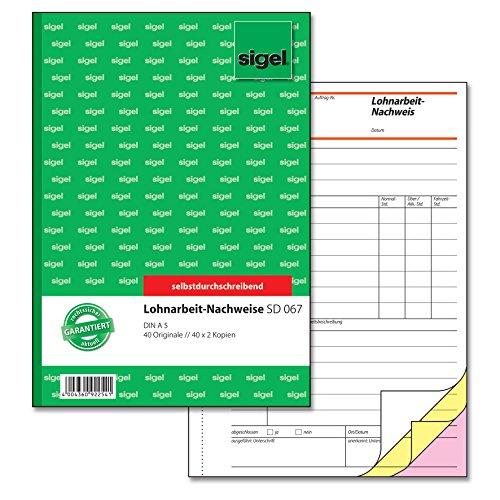Sigel SD067 Lohnarbeits-Nachweis A5, 3x40 Blatt, selbstdurchschreibend