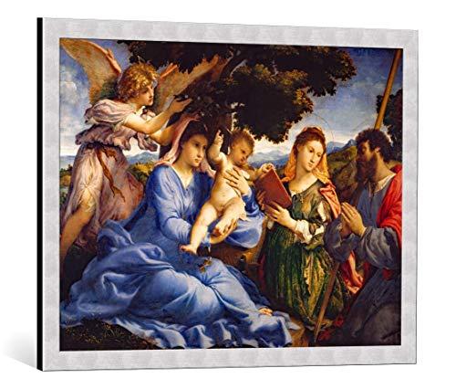 Kunst für Alle Cuadro con Marco: Lorenzo Lotto Maria mit Dem Kind und den hll Katharina und Jakobus d Ä - Impresión artística Decorativa con Marco, 80x60 cm, Plata cepillada