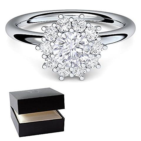 **Verlobungsringe von AMOONIC mit SWAROVSKI Zirkonia Stein* Silber 925 + LUXUSETUI* Cocktailring moderner Ring Designerring Einkaräter Antrag Silberringe Ring wie Diamant Weißgold AM48SS925ZIFAZIFA58