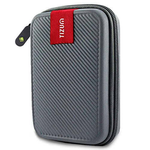 TIZUM External Hard Drive Case for 2.5-Inch Hard Drive - Double Padded (Gray)