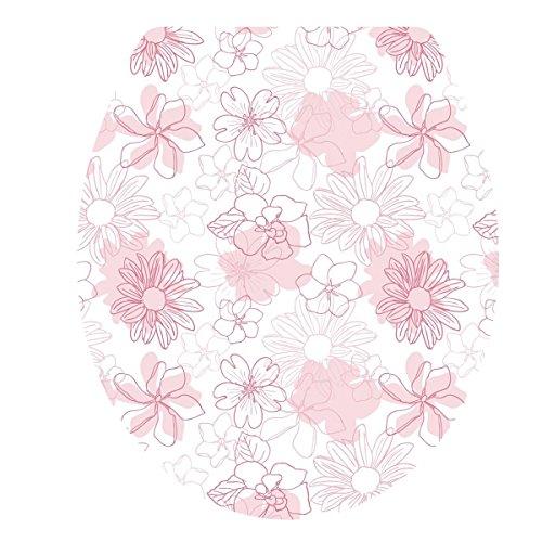 """Preisvergleich Produktbild UNIQUEBELLA Klodeckelaufkleber WC Sitz Aufkleber """" Rosa Blumen """" Design Tapete für Toilettendeckel Klodeckel 34*40cm"""