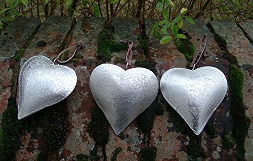 Deko-Hänger, Herzen, 3 Stück, Herzanhänger Eisen silber zart gemustert