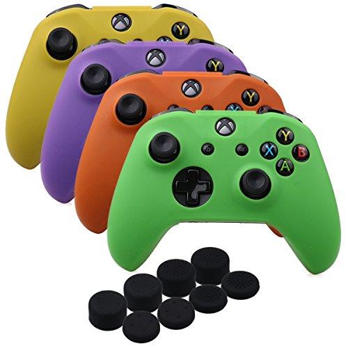 YoRHa silicona caso piel Fundas protectores cubierta para Xbox One X & Xbox One S Mando[después 8.2016]x 4(verde & naranja & morado & amarillo) Con PRO los puños pulgar thumb grips x 8