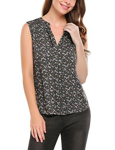 Meaneor Damen Sommer Bluse mit allover Blumenprint Beiläufig Locker Casual Bluse Hemd Blusenshirt Klassic Ärmelloses Blume 3