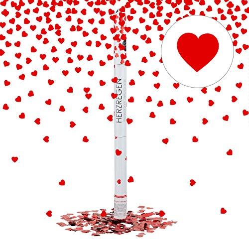 feuerwerk herzform Relaxdays Party-Popper mit Herzen 80 cm, 6-8m Effekthöhe, Hochzeitsdeko, Hochzeit Konfetti-Kanone, Hochzeitsdeko, rot