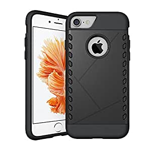 Tarkan Armored Shield Dual Layer Hybrid Protective Matte Back Case Cover for iPhone 7 (Black)