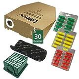 62 tlg Spar Angebot 30 Staubsaugerbeutel Filter Set und Duft passend für Vorwerk Kobold VK 130 , Kobold VK 131 und 131 SC