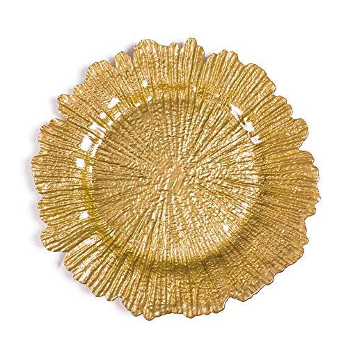 ten Glas Teller Starburst Ladegerät Platten für Hochzeitsfest-Event-Dekoration,Gold ()