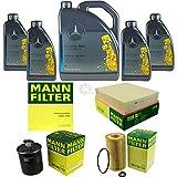 Filter Set Inspektionspaket 9 Liter Original Motoröl 5W-40 MB 229.5 MANN-FILTER Innenraumfilter Kraftstofffilter Luftfilter Ölfilter