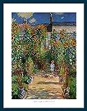 Bild mit Rahmen Claude Monet - Artist 's Garden - Holz blau, 50 x 70cm - Premiumqualität - Impressionismus, Garten, Gartenweg, Kind, Sonnenblumen, Blumen, Licht / Schatten, Blüten.. - MADE IN GERMANY - ART-GALERIE-SHOPde