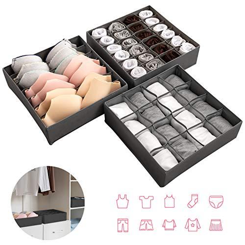 Newstyle cassetto organizer per biancheria intima,set di 3 armadio divisori pieghevole storage box cassetto organizzator per biancheria intima, reggiseni, calze, fazzoletti e cravatte (grigio)