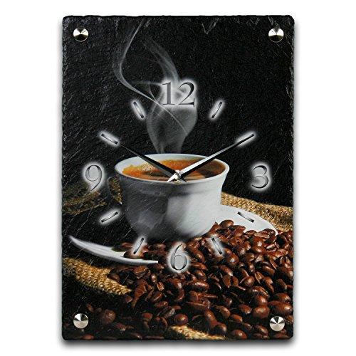Kaffee Luxus Designer Wanduhr Funkuhr aus Schiefer *Made in Germany leise ohne ticken WS108FL