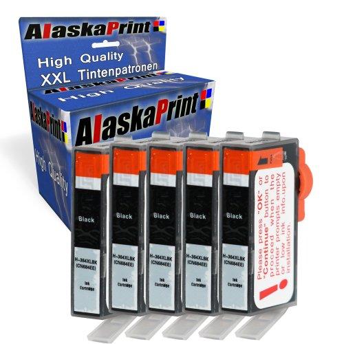 Alaskaprint 5 Kompatible Tintenpatronen Als Ersatz für HP 364 XL (Schwarz )