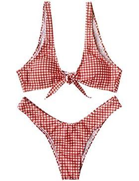 CHRISTYLE mujer tela escocesa del verano Sujetador inferior del traje de baño desgaste de la playa del traje de...