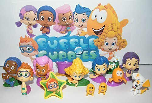 Nickelodeon Bubble Guppies Toy Figure Set of 13 with Bubble Puppy, Goby, Deema, Gil, Oona, Underwater Scenery, Baby Guppies Etc and Special ToyRing! by Bubble Guppies (Guppies Deema Bubble)