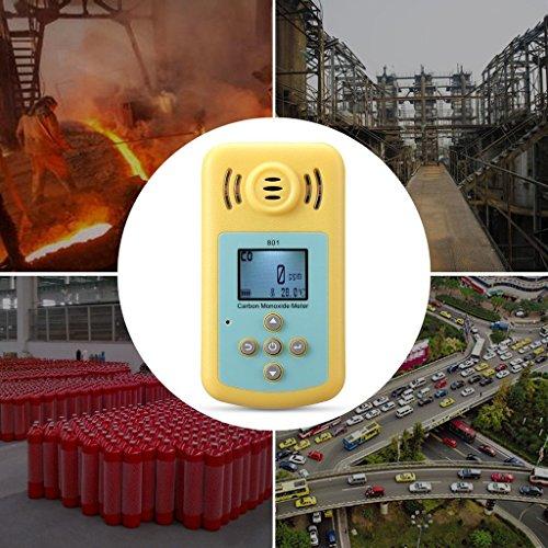 Tonor Tragbar 0-2000ppm Kohlenmonoxid-Detektor Brennbarer Gas-Detektor Warngerät Alarm Gasmelder Gaswarner Tragbarer Gasübertritt Tester mit Ton Licht Vibration Gas Tester Monitor Warnmelder Sicherheitsüberwachung Gelb - 4