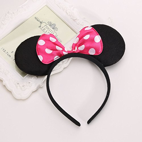 Minnie Head Band Doted Dark Pink Bow /Bow Head Band Minnie Mouse/Mickey Mouse Bow Headband/ Minnie Mouse Ears Headband Hairband Costume Accessory