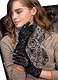 YISEVEN Frauen Touchscreen Lammfell Lederhandschuhe Spitze Blume