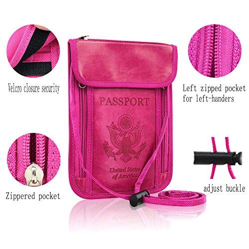 Passport halter Wallet, acdream Schutz Premium Hals Schutzhülle für Passport Wallet mit RFID-blockierender für Sicherheit, hot pink - Hals Rfid-reise-geldbörse