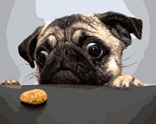 Sans Cadre Chien et cake DIY Peinture par numéro moderne Décoration murale Tableau Peint à la main Peinture à l'huile Cadeau unique Home Decor pour adulte, Toile, Dog and Cake, unframed