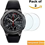 iloft Premium High Definition Ultra Clear Screen Protector Waterproof Tempered Glass for Samsung Gear S3 Smartwatch, [9H Hardness] [Crystal Clear] [Scratch Resist] [No-Bubble] (Pack of 2)