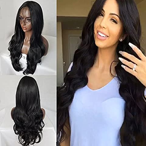QD-Tizer Black Color Body Wave Lace Front Wig Long Wavy Replacement Hair Wigs for Women Half Hand Tied 28 Inch