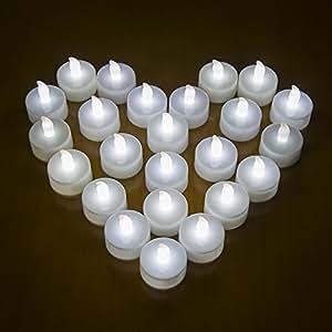 MAXAH® Candele di plastica / candela LED / lot 24 candele,per le vacanze, come il Natale!-Bianco