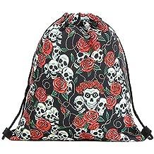 Dabixx Mochila con cordón, Mochila con cordón del cráneo Rosa Mochila Escolar Natación Viaje Adultos