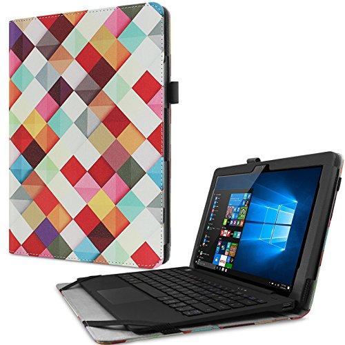 Odys Fusion Win 12 Pro 2in1 Hülle Case -Infiland Slim Fit Folio PU-lederne dünne Kunstleder Schutzhülle Cover Tasche für Odys Fusion Win 12 Pro 2in1 29,5 cm (11,6 Zoll) Tablet-PC (mit Auto Schlaf / Wach Funktion,Tablet und Tastatur sind nicht entgehaltet)(Farbige Quadrate)