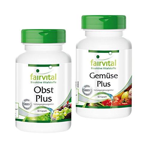 Obst und Gemüse Plus - 120 Kapseln - vegan - hochwertiges Obst-Pulver und Gemüse-Pulver mit Enzymen und probiotischen Kulturen - Multivitamin