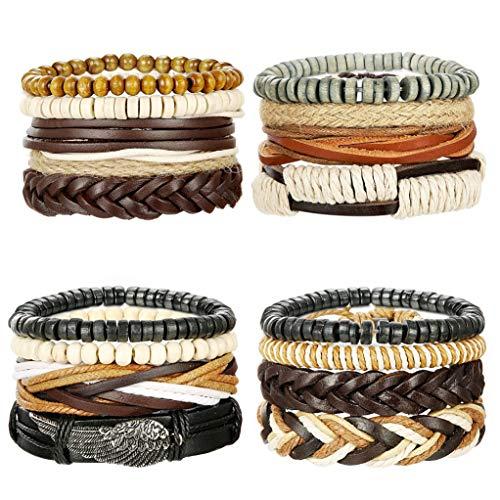 Milacolato gioielli in pelle vintage bracciali per uomo donna braccialetti braccialetto perle tribal charm elastico