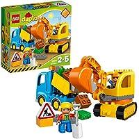 LEGO 10812 DUPLO Town Truck & Tracked Excavator, Large Building Bricks, Preschool Construction Set for Kids