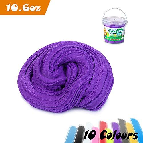 Fluffy slime, aitsite 300g / 900ml magia fai da te super light argilla non sticky non borax e non tossico profumato per bambini e adulti (viola)