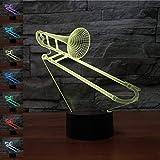 LED 3D Lampe Nachttischlampe,KINGCOO Visualisierung Amazing Optische Täuschung Touch Control Light 7 Farben ändern Schreibtischlampen Nachtlicht für Kinderzimmer Decoration,Best Geschenk (Posaune)