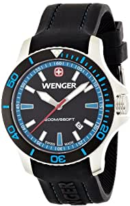 Wenger Seaforce Men's Quartz Watch with Black Dial Analogue Display and Black Silicone Strap 010641104