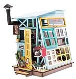 DIY Haus Bausatz Basteln Miniatur Puppenhaus Dekoration Kreative Geschenkidee mit LED Licht Bunt (Holzhütte)