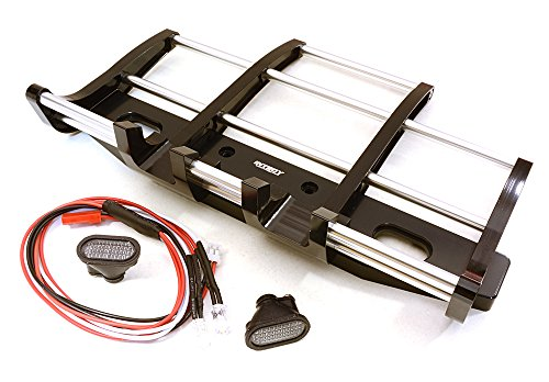 Integy RC Model Hop-ups C27116BLACK CNC Alloy Front Bumper w/ LED for Tamiya 1/14 King Hauler & Globe Liner