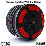 iFox iF013 - Bluetooth-Lautsprecher mit FM-Radio & Freisprechfunktion für die Dusche - Für alle Bluetooth-fähigen Geräte wie iPhone, iPad, iPod, PC - Zertifiziert wasserdicht - Schwarz