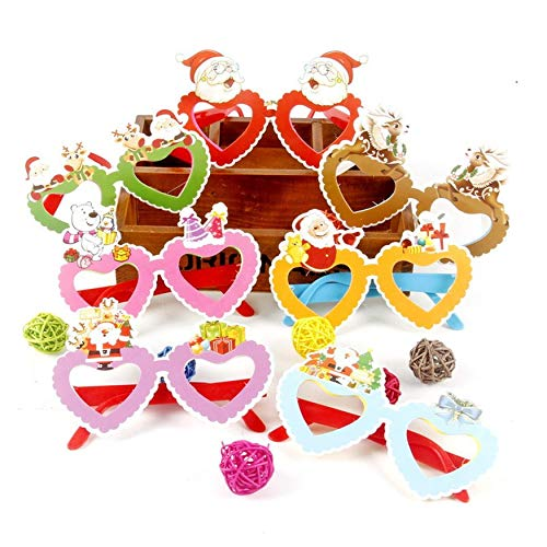 Yaoaomon Flashing Glasses Christmas Party Favors Light Up Shades Glasses for Kids Random Color Heart 12pcs