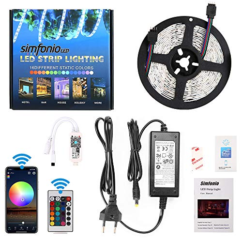 Simfonio LED Strip 5m - LED Stripes Arbeitet mit Alexa, Google Home, IFTTT, Wifi Wireless Smart Phone Gesteuert - LED Band 5m 5050SMD 150 LED RGB Strip Full Kit - LED Streifen Kit mit Fernbedienung