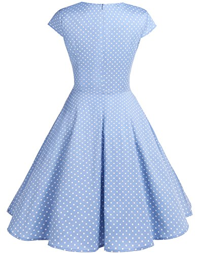 bbonlinedress 1950er Vintage Retro Cocktailkleid Rockabilly V-Ausschnitt Faltenrock Blue Small White Dot S - 3