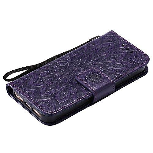 JIALUN-Telefon Fall Für Apple IPhone 5s SE Fall, mit Lanyard, Kartensteckplatz, Halterung, Magnetische Wölbung Sun Flower Flat Open Phone Shell ( Color : Blue ) Purple