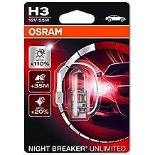 OSRAM NIGHT BREAKER UNLIMITED H3 Lampada alogena per proiettori   64151NBU-01B 110% in più di luce, 20% più bianca - - Blister singolo