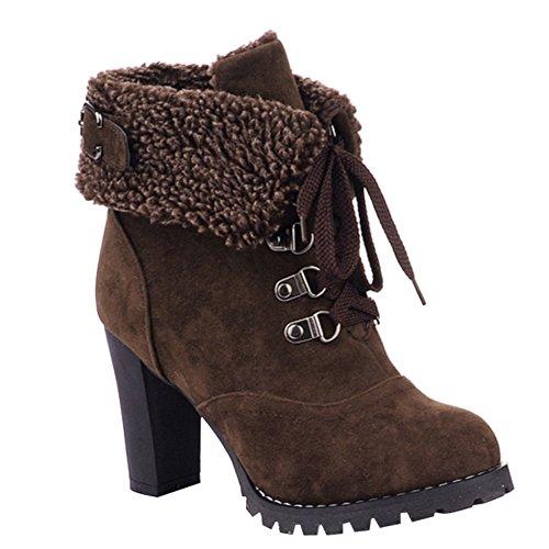 Damen Schnür Stiefeletten Kurz Winter Stiefel Warm Gefüttert Ankle Boots Plateau Blockabsatz Winterschuhe High Heels Schuhe, Braun 37 (Boot Heel Ankle)